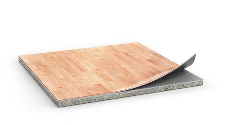 リノリウム コーティング床の作品。フロアー リングの取付け。3 d イラストレーション