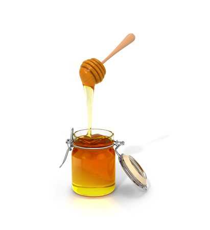 comb out: Honey on a white background. Honey is dripping with Wooden Chopsticks in a glass jar. 3D illustration.
