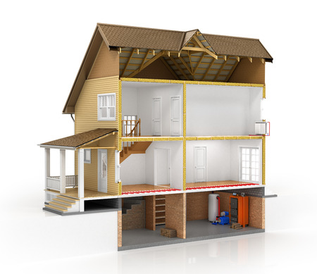 house construction: Concept of design. Sliced house with isolated layers of heating on the white background. 3d illustration