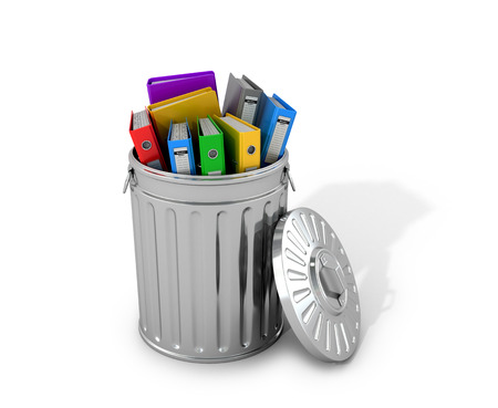 blinders: Multicolored folders in a trash can. 3D illustration. Stock Photo