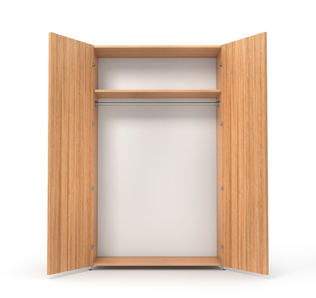clothing rack: Empty open wooden wardrobe isolated on the whitebackground. 3d illustration Stock Photo