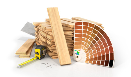 Stack of parquet. Timberwork, lumber work and woodwork industry concept: stacks of wooden timber planks on the white background. 3d illustration