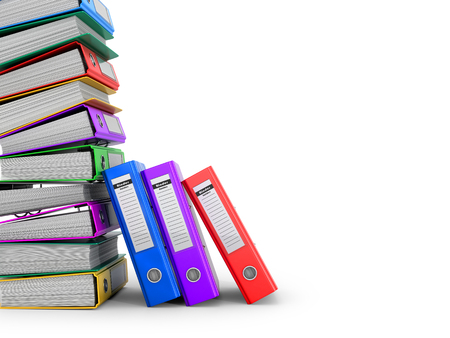 storage compartment: Many colorful folders stacked in a row. Ring binders. 3D illustration. Stock Photo