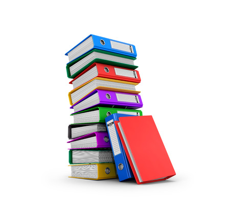 blinders: Many colorful folders stacked in a row. Ring binders. 3D illustration. Stock Photo