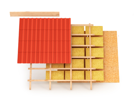 roofing membrane: Scheme of the roofing system. 3D illustration