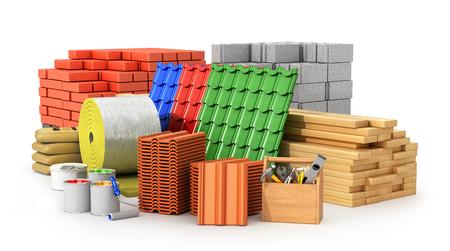 Materialen voor dakbedekking, bouwmaterialen, geïsoleerd op een witte achtergrond. 3D illustratie Stockfoto