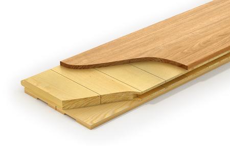 subflooring: Wooden parquet plank. See layers of parquet plank. 3d illustration Stock Photo