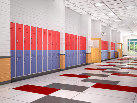 school: lockers in the high school hallway. 3d illustration