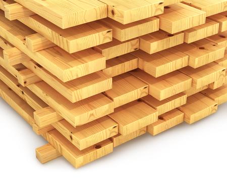 dos: stack of wooden planks. 3D illustration