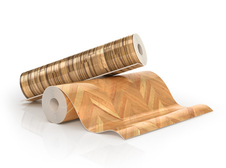 linoleum: Two rolls of linoleum with wood texture. 3d illustration