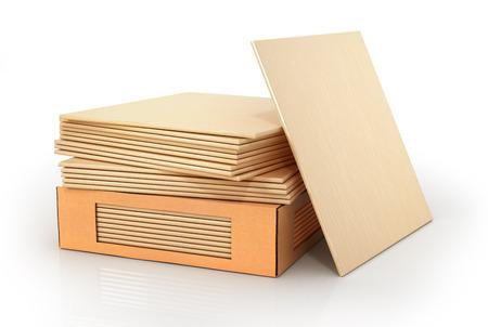 Stack of ceramic tile on a white background. 3d illustration