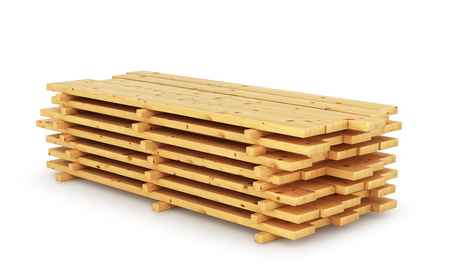 dos: stack wood plank isolated on white background. 3D illustration