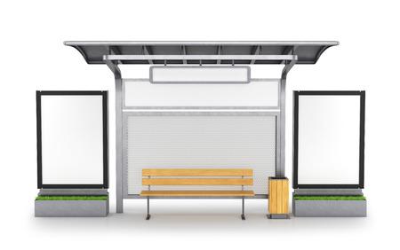 bus stop. 3D illustration Stock Photo