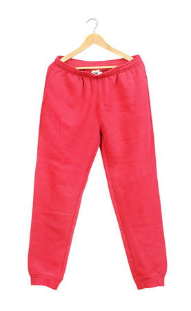 white sleeve: Red sweat pants on a hanger isolated on white background