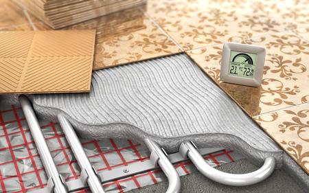 floor heating: Heating concept. Underfloor heating. Layers of heating floor in the room. 3d illustration Stock Photo