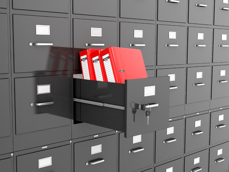 directorio telefonico: Office folders are located in the office tables. 3D illustration.