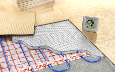 Heating concept. Underfloor heating. Layers of heating floor in the room. 3d illustration 写真素材