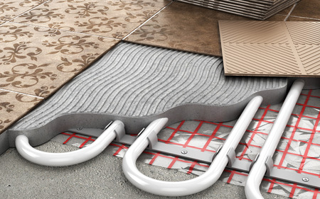 Heating concept. Underfloor heating. Layers of heating floor in the room. 3d illustration Banco de Imagens