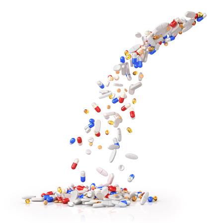 Falling pills isolated on white background. 3d illustration