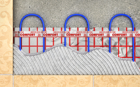 Heating concept. Underfloor heating. Layers of heating floor in the room. 3d illustration Stock Photo