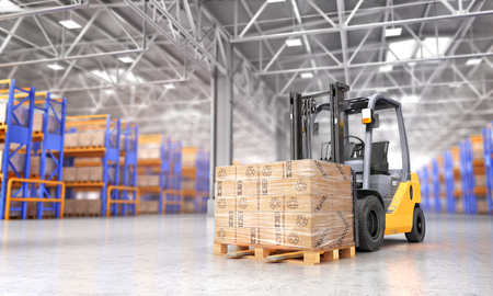 Concept of warehouse. The forklift in the big warehouse on blurred background. 3d illustration