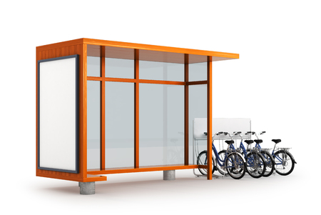 Blank white layout at the bus stop. Bicycle Parking near the bus stop. 3D illustration