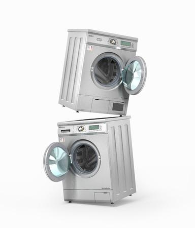 Set von Waschmaschine und Trockner auf einem weißen Hintergrund. 3D-Darstellung Standard-Bild - 72972763