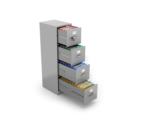 blinders: Office folders are located in the office tables. 3D illustration.