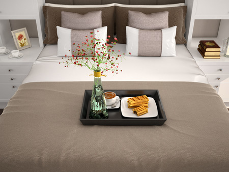 breakfast in bed: Breakfast in bed. Flowers in a vase and wafers with cappuccino. 3d illustration