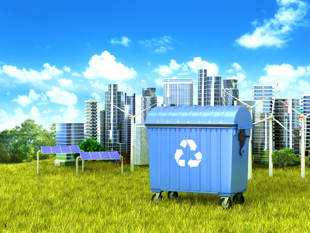 Blue trash (container) standing on green grass, in the background a clean city. 3D illustration