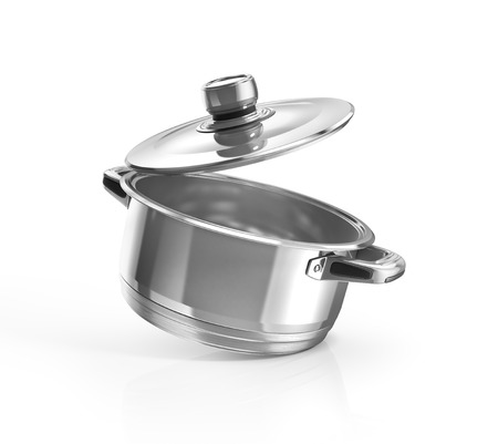 Open stainless steel cooking pot isolated on white with clipping path. 3d illustration Stock Photo