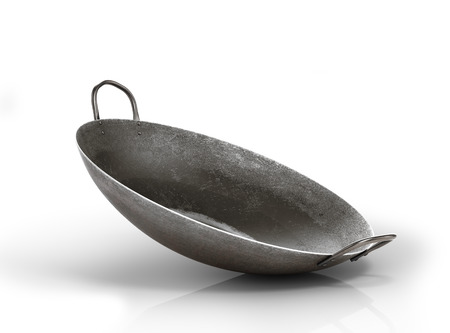 Old wok pan isolated on a white background. 3d illustration Stock Photo