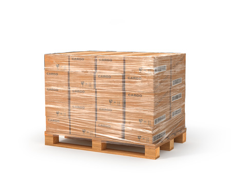 Cardboard boxes on wooden pallet. Delivery concept. 3D illustration illustration isolated on white background