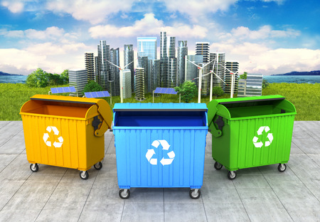 camion de basura: concept of a clean environment. Three refuse container on the clean and green city background. 3D illustration
