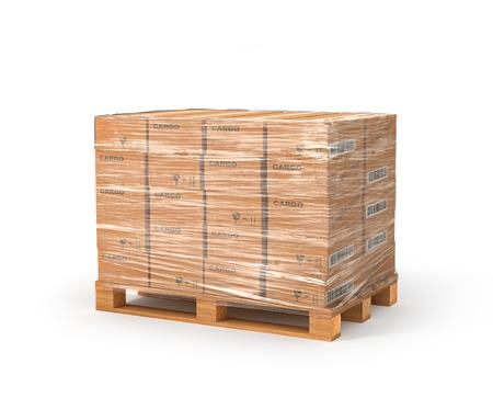 木製パレット上の段ボール箱。配信のコンセプトです。白い背景で隔離の 3 D イラスト図