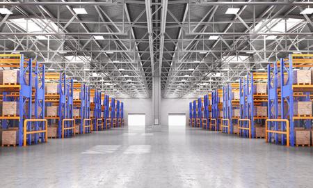 Empty warehouse full of cargo. 3d illustration 写真素材