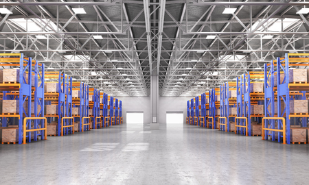 Empty warehouse full of cargo. 3d illustration Stock Photo
