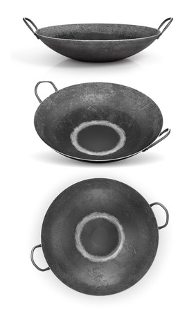 Set of wok pan isolated on a white background. 3d illustration