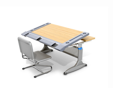 schooldesk: Wooden school desk and chair isolated on white. 3d illustration.