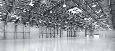 Empty warehouse. 3d illustration 스톡 콘텐츠