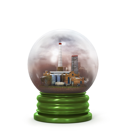 reflection of life: concept of environmental protection plant in glass sphere Stock Photo