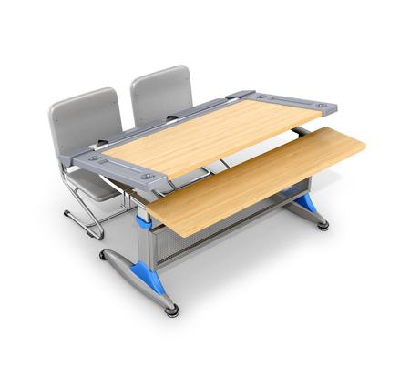 schooldesk: Wooden school desk  isolated on white background. 3d illustration. Stock Photo