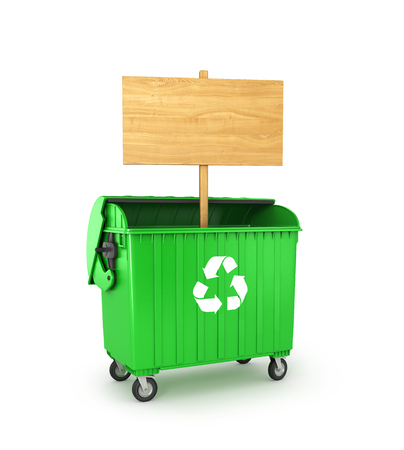 wooden empty sign in a trash can, isolated on a white background. 3D illustration Stock Photo