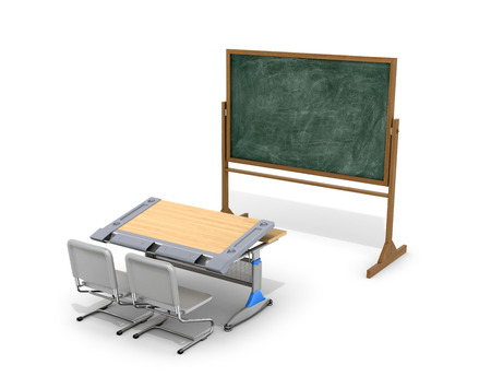 comfort classroom: School desk with board on a white background. 3D illustration. Stock Photo