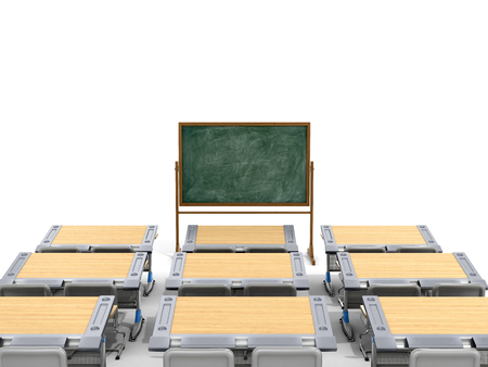 comfort classroom: School desks with board on a white background. 3D illustration.