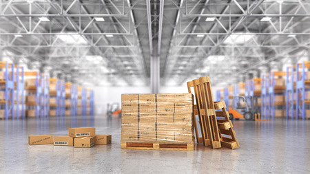 Concept of warehouse. The cardboard boxes in the big warehouse on blurred background. 3d illustration Stock Photo
