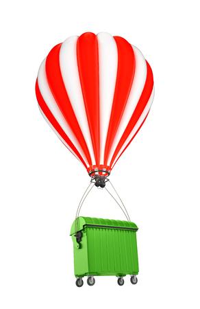 dumping: trash bin flying in a balloon. 3D illustration Stock Photo