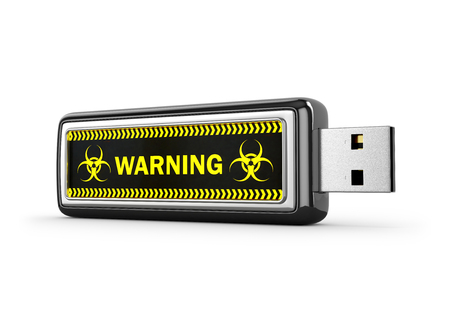 information medium: USB drive with viral software on white background. 3D illustration.
