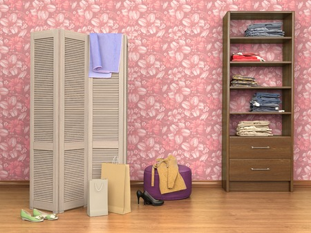 room with folding screen, cupboard, boxes and shoes, 3d illustration