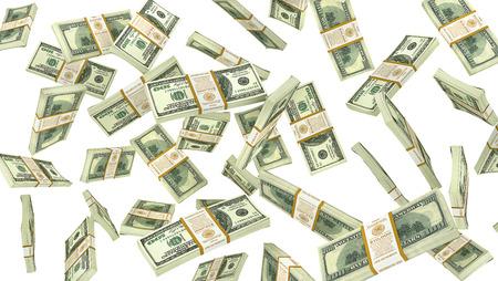 白い背景に落ちるお金は。ドルは雨します。3 d イラストレーション